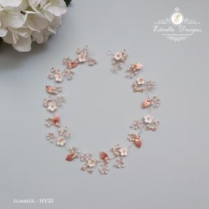 SUMMER – HV20 – Swarovski Crystal, Metal leaves, Blossom and Pearl Hair Vine
