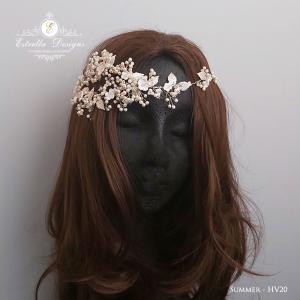 SUMMER – HC20 – Asymmetric Swarovski Crystal, Silver leaves, Blossom and Pearl Hair Piece