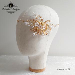 SEREN – HV21 – Asymmetric Swarovski Crystal, Flower and Pearl Gold Wire Hair Vine