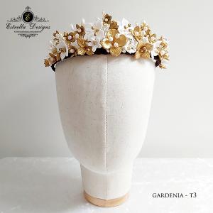 Gardenia – Handmade Clay Flower, Swarovski Crystal and Pearl Tiara – T3