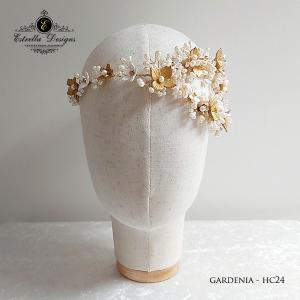 Gardenia – Handmade Clay Flower, Swarovski Crystal and Pearl Asymmetric Piece- HC23