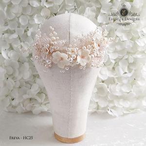 FREYA – HC25 – Swarovski Crystal, Clay Flower and Pearl Hair Comb