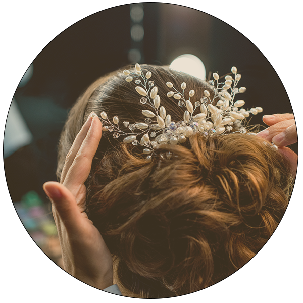 Fitting a bridal hair accessory gloucestershire