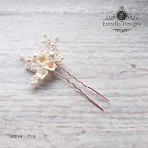 FREYA – P24 – Swarovski Crystal, Clay Flower and Pearl Hair Pin